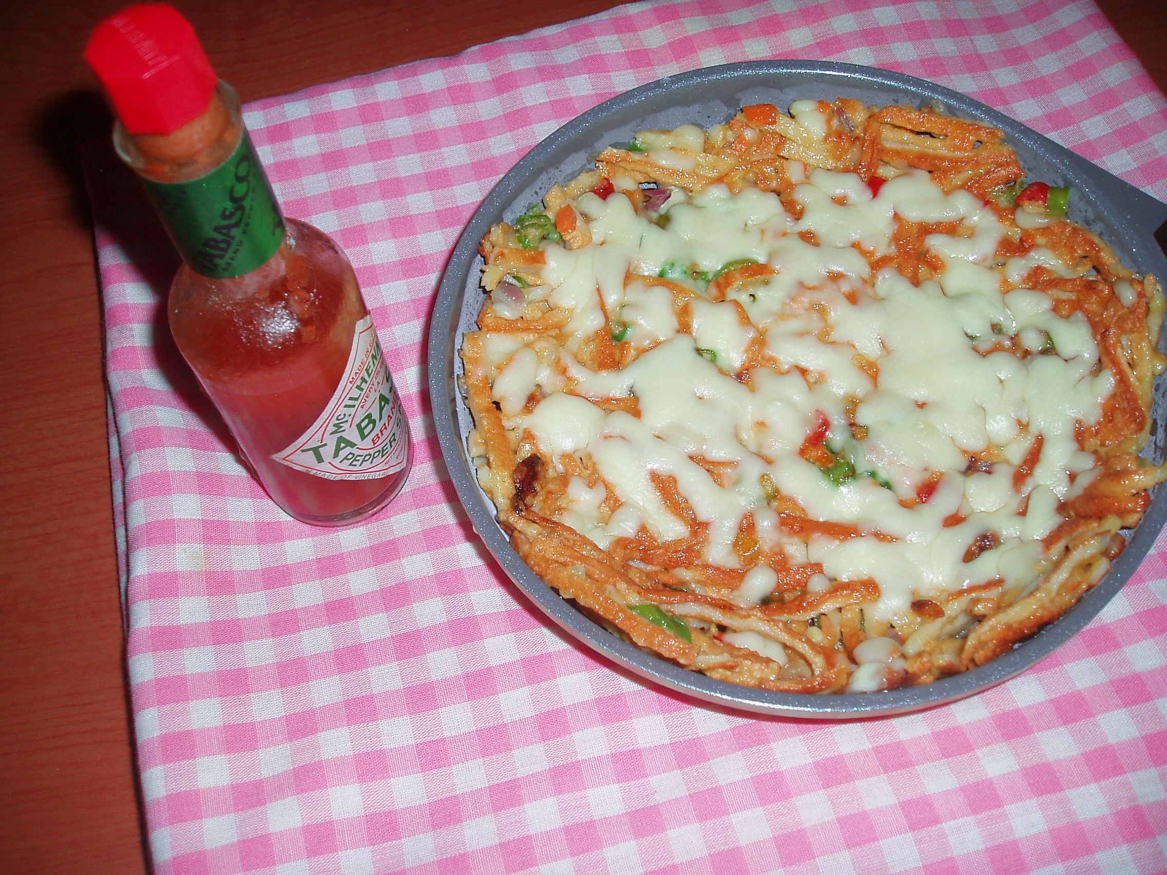 어묵을 전으로 부쳐 피자치즈 올려 구운 어묵전 피자 완성 이미지...