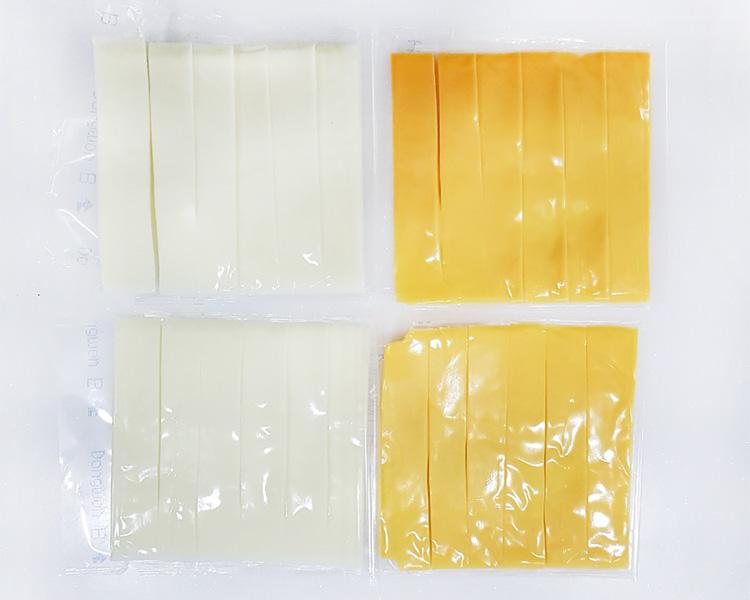 6등분한 소와나무 슬라이스 치즈 이미지