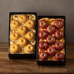 [1+1][푸른들] 사과 선물세트3.5kg 1BOX + 나주배 선물세트4.5kg 1BOX (사과12과이내/배9과이내)