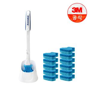 [3M] 아이디어 변기솔 크린스틱 더블액션 풀세트-핸들 1개+캐디1개+리필 12개