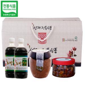 선재전통식품 선물세트1호(된장1kg+고추장매실장아찌500g+뽕잎간장450gx2개)