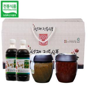 선재전통식품 선물세트2호(된장1kg+고추장1kg+뽕잎간장450gx2개)