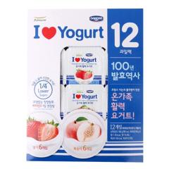[메가마트] 풀무원 아이러브요거트 딸기6입+복숭아6입(80g*12입)