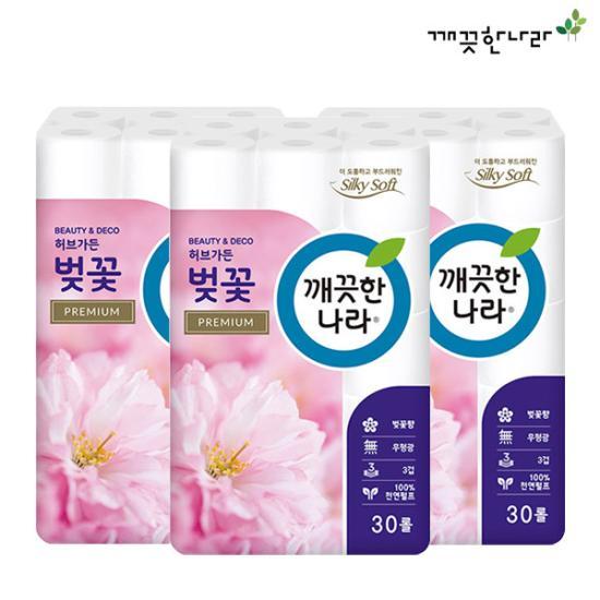 [깨끗한나라]3겹데코 프리미엄 허브가든 벚꽃 27m 30롤 X 3팩 / 롤티슈 화장지 휴지