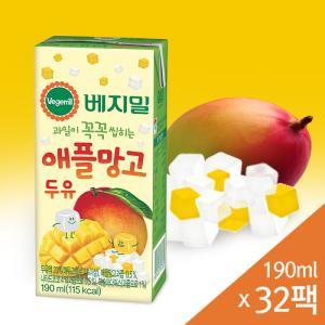 [정식품] 베지밀 과일이 꼭꼭 씹히는 애플망고 두유 190mlx32팩