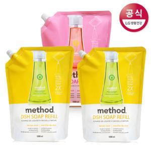 [LG생활건강] 메소드 주방세제 리필 1000mlx3개 (총 3L) / 레몬민트 핑크그레이프 택 1