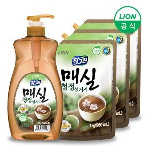 [CJ라이온] 참그린 매실 주방세제 1kg 용기+1kg 리필x3개