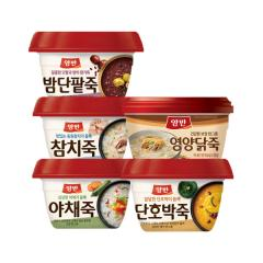 [만원의행복★죽5종][동원] 양반 호박죽+밤단팥죽+야채죽+삼계죽+참치죽