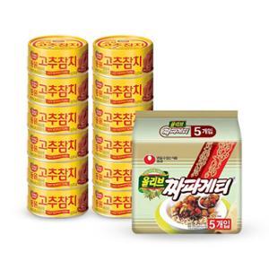 [동원] 고추참치 85g*12캔+[증정] 농심 짜파게티 멀티(5개입)