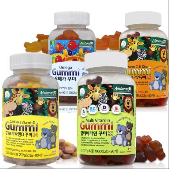 [네추럴라이즈] 어린이 츄어블 멀티비타민 60 꾸미 (칼슘/오메가3 선택 가능)