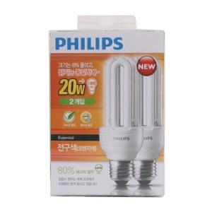 [메가마트] 필립스 컴팩트전구 20W 2입 전구색20W2입 전구색
