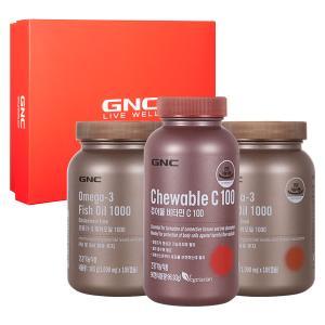 GNC Active Plus+ 세트 [오메가3 피쉬오일 105캡슐 2개 + 츄어블 비타민C100 (90)]