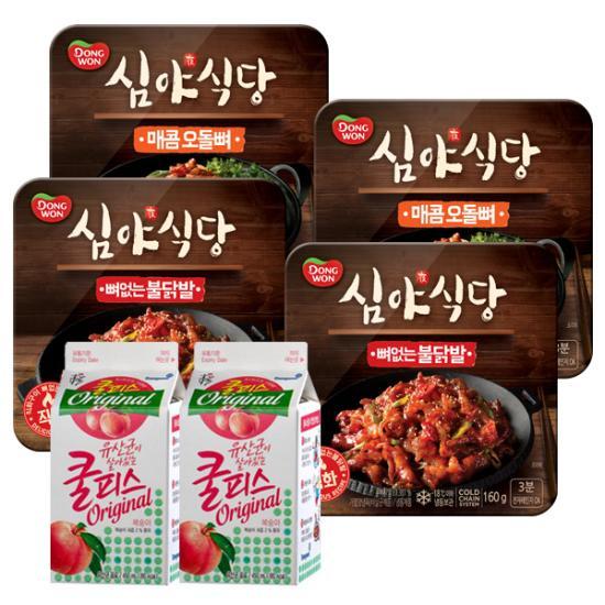 [동원] 심야식당4팩(뼈없는 불닭발160gx2팩+매콤오돌뼈160gx2팩)+쿨피스 450mlx2팩 증정