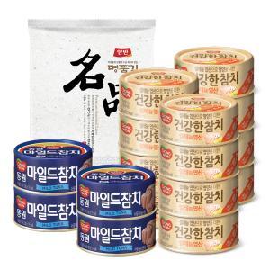 동원]건강한참치 저나트륨 100g*12캔+마일드100g*4캔+(증정)명품김