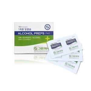 그린제약 알콜프렙스패드 1회용 알코올솜 100매 x 2박스