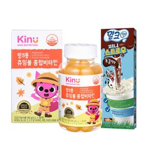 [키누] 핑크퐁 츄잉볼 종합비타민+밀크앤퍼니스트로우 초콜릿맛 10개입 증정