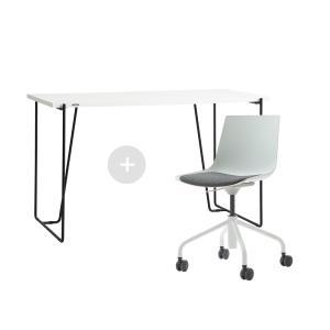 듀오백 바인츠 화이트 테이블+스위블 웜체어 세트