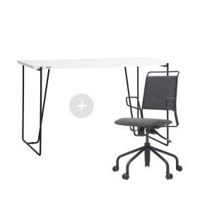 듀오백 바인츠 화이트 테이블+라움체어 책상 의자세트