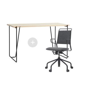 듀오백 바인츠 우드 테이블+라움체어 책상의자세트
