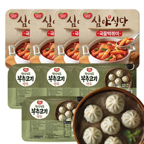 [동원] 심야식당 국물떡볶이 250g*4+한입가득 부추고기 만두 150g*4