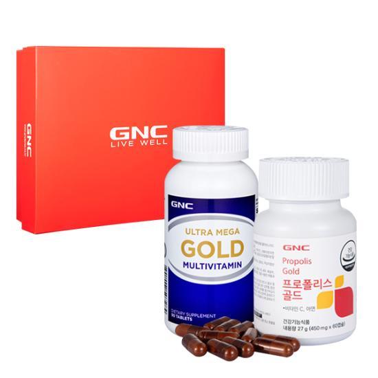 GNC 온가족 면역건강 세트 [울트라메가 골드(90)+프로폴리스 골드(60)]