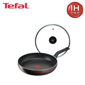 [테팔] 인덕션 초콜릿 티타늄 프로 프라이팬 28cm+유리뚜껑 28cm TFC-IC8G