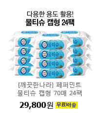 다용한 용도 활용! 물티슈 캡형 24팩 [깨끗한나라] 페퍼민트 물티슈 캡형 70매 24팩