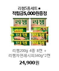 리챔5종세트★적립금5,000원증정 리챔200g 4종 8캔 +리챔자연레시피340g*2캔 24,900원