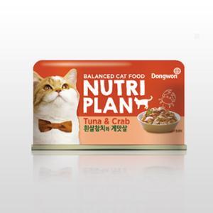 [10%리워드] 뉴트리플랜 습식캔 흰살참치와게맛살?160g
