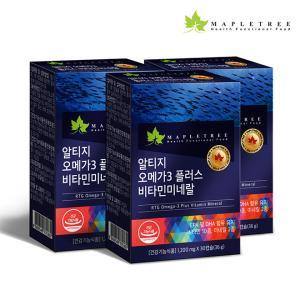 [메이플트리] 알티지오메가3 플러스 비타민미네랄 30캡슐X3통(3개월분)