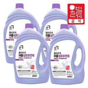 올바르게 8無  퍼품 섬유유연제 라벤더향 3.2L 4개/액체 세제