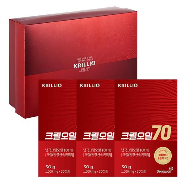 [동원] 크릴오일 70 선물세트 (1,000mg*30캡슐*3개) / 남극 크릴오일 100%
