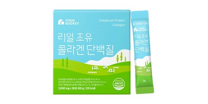[푸드버킷]리얼 초유콜라겐 단백질 미국산 초유 2g, 30포 1박스
