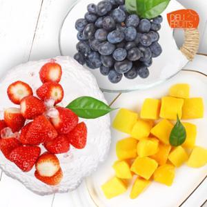 [델리후르츠] 아이스 냉동 블루베리 1kg +아이스 애플망고 다이스 1kg + 국내산 아이스 냉동 딸기 1kg