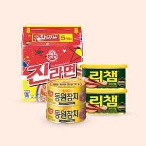 동원참치(라이트스탠다드) 85gx8캔 + 리챔 200gx8캔 + 진라면 매운맛 (5봉)